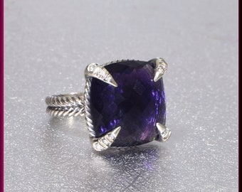 David Yurman Amethyst Ring, David Yurman Sterling Silver Ring, David Yurman Diamond Ring