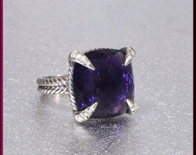 David Yurman Amethyst Ring, David Yurman Sterling Silver Ring, David Yurman Diamond Ring