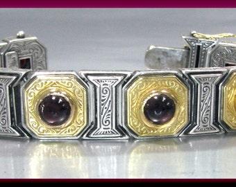 Vintage 18k Yellow Gold and Sterling Silver Cabochon Garnet Bold Bracelet - BR 403S