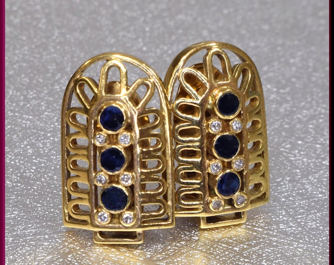 Lalaounis 18K Yellow Gold Sapphire and Diamond Earrings