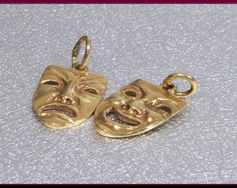 Gold Comedy Tragedy Mask Charm, Gold Theatre Charms Comedy Tragedy masks necklace, Theatre charm, Greek drama mask