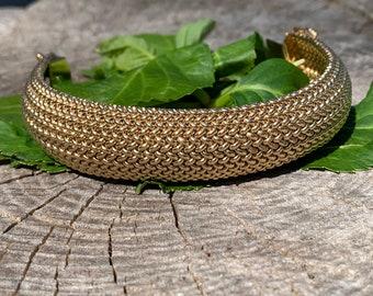 Tiffany & Co Gold Braided Soft Bangle Bracelet, Tiffany Gold Bangle, Gold Mesh Bangle