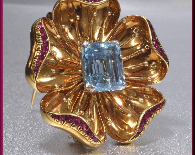 Tiffany & Co Gold Brooch, Tiffany and Co Brooch, Floral Brooch, Ruby Brooch, Aquamarine Brooch, Brooch Bouquet, Bridal Brooch