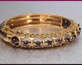 Vintage 14K Yellow Gold 1940's Garnet Bangle Bracelet January Birthstone Bangle
