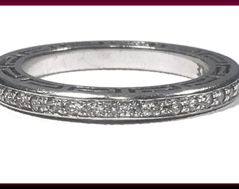 Versace Vintage Diamond Eternity Wedding Band White Gold Wedding Ring Anniversary Gift for Her