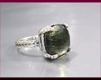 Vintage David Yurman Chatelaine Collection Faceted Green Orchid and Diamond Cocktail Ring Statement Ring - DY 39