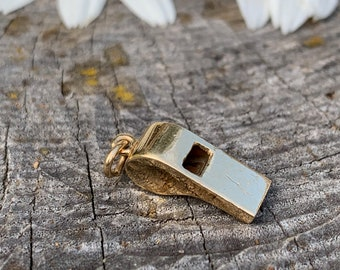 Gold Whistle Charm, Whistle Charm, Whistle Pendant