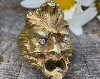 Gold Gorgon Ring, Gorgon Men's Ring, Medusa Ring, Gorgon Monster Ring, Greek My