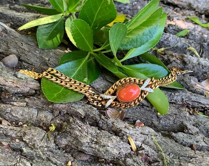 Coral and Diamond Bracelet, Gold Coral Bracelet, Coral Bracelet, Diamond Bracelet, Bracelet Femme Diamond Bracelet  Girlfriend Gift