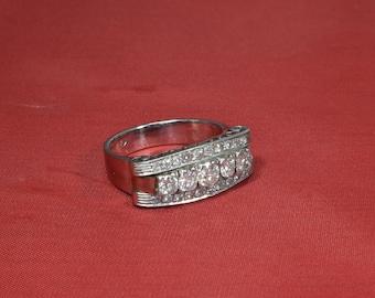 Retro White Gold Diamond Ring, Retro Wedding Band, Diamond Wedding Band, Wide Wedding Band