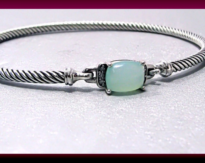 Vintage David Yurman Petit Wheaton Collection Sterling Silver Prasiolite and Diamond Bangle - DY24