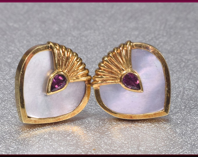 Mother of Pearl Heart Earrings, Yellow Gold Heart Earrings, Mother of Pearl Earrings, Pink Tourmaline Earrings,