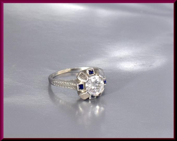 Art Deco Diamond Engagement Ring Antique Diamond Engagement Ring with Old European Cut Diamond 18K White Gold Wedding Ring - ER 517M