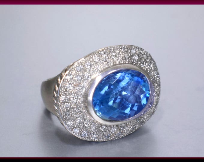 Vintage David Yurman Signature Collection Sterling Silver Oval Blue Topaz and Pave Diamond Statement Ring Cocktail Ring - D Y 74