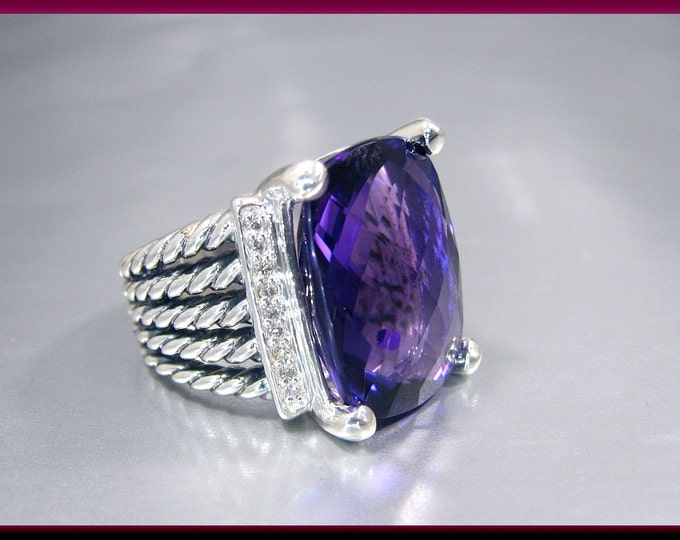 Vintage David Yurman Wheaton Collection Sterling Silver Faceted Amethyst and Diamond Cocktail Ring Statement Ring - DY 33