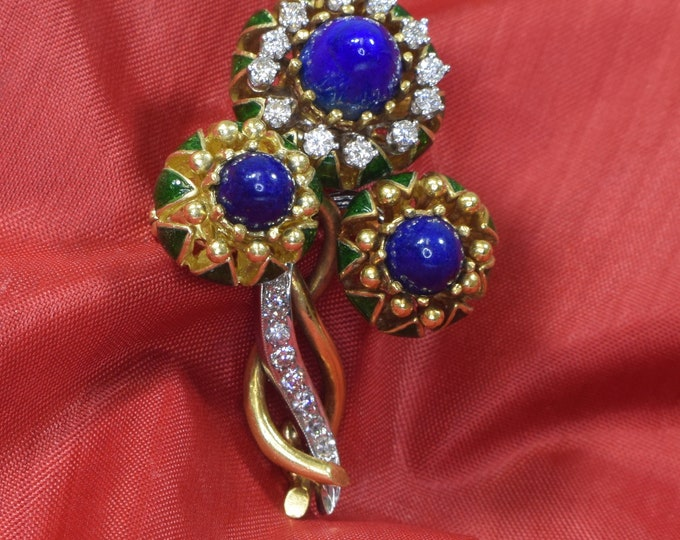 18k Yellow Gold Brooch, Gold and Lapis Brooch, Enamel Brooch, Lapis Brooch, Diamond Brooch, Brooch Bouquet, Bridal Brooch