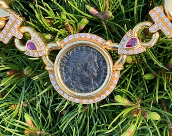 Carved Ancient Coin Pendant, Coin Choker, Diamond Choker Necklace, Gold Ruby Choker