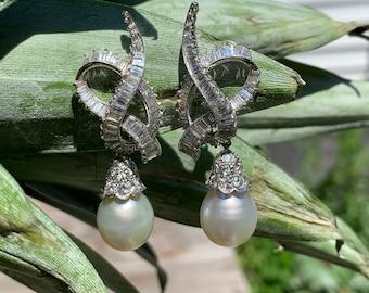 Platinum Diamond and South Sea Pearl Earring, Pearl Chandelier Earring, Diamond Dangle Earring