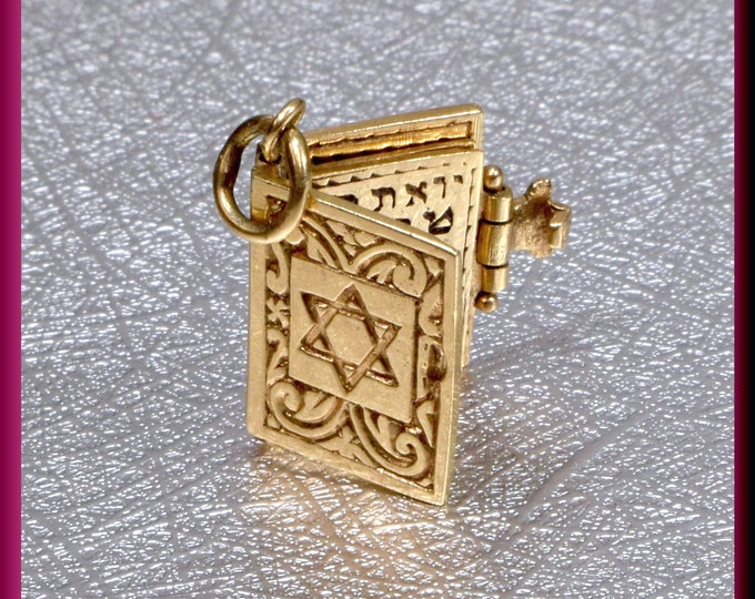 Torah Charm Gold Torah Charm Jewish Religious Jewelry Sacred Text Bar Mitzvah Star of David Charm