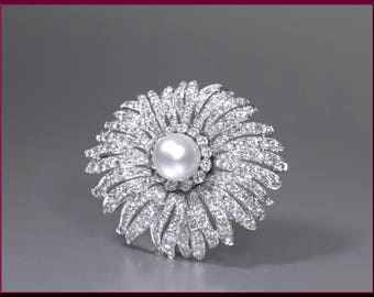 Antique Vintage Art Deco 1930's Diamond and Pearl Starburst Pin Brooch