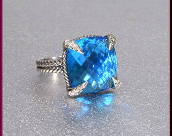 David Yurman Blue Topaz Ring, David Yurman Chatelaine Topaz Ring, Yurman Sterling Silver Ring