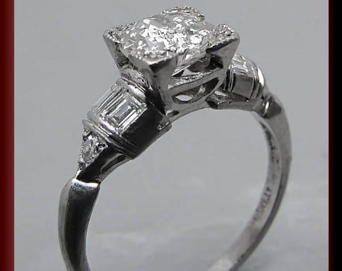 Art Deco Diamond Engagement Ring Antique Diamond Engagement Ring with Old European Cut Diamond Platinum Wedding Ring- ER 360S