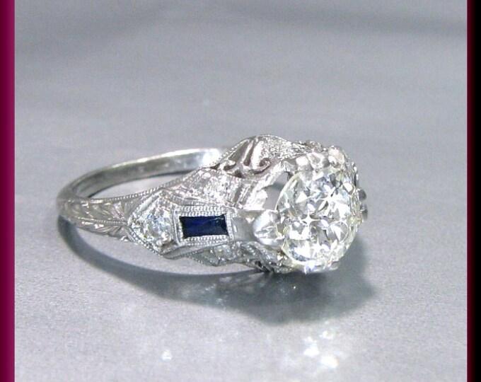 Art Deco Diamond Engagement Ring Antique Diamond Engagement Ring with Old European Cut Diamond Platinum Wedding Ring