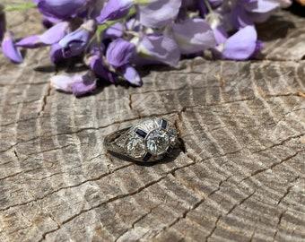 Art Deco 1920's 18K White Gold Diamond Engagement Ring
