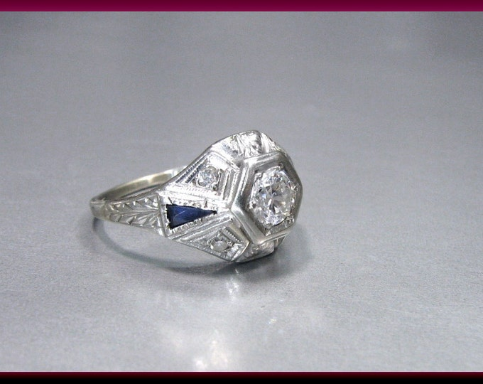 Art Deco Diamond Engagement Ring Antique Diamond Engagement Ring with Old European Cut Diamond 18K White Gold Wedding Ring- ER 613M