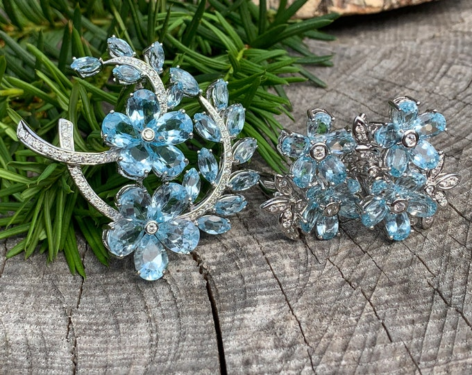 Blue Topaz Brooch, Topaz Flower Brooch, Blue Topaz Earring, Diamond Brooch, Flower Brooch, Bridal Brooch, Brooch Bouquet