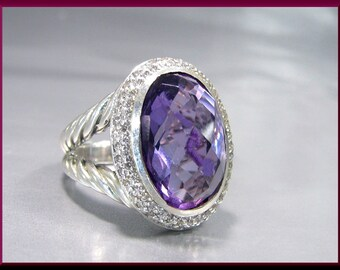Vintage Sterling Silver Signature Collection David Yurman Oval Amethyst and Diamond Cocktail Statement Ring - DY 31