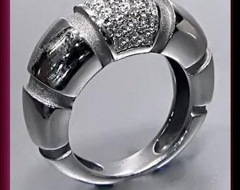 Vintage Mauboussin Paris 18K White Gold Diamond Band Statement Ring