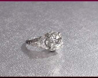 Art Deco Engagement Ring Antique Engagement Ring Art Deco Ring Vintage Ring Statement Ring Alternative Ring  Filigree Ring Platinum Dainty