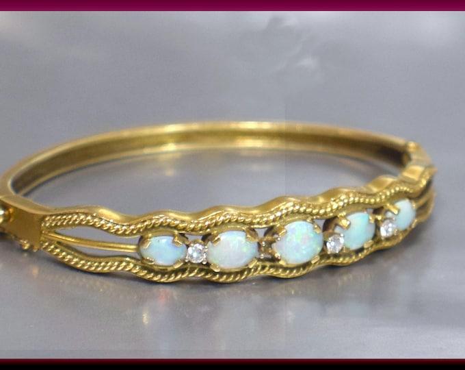 Vintage 14K Yellow Gold 1950's Opal and Diamond Bangle Bracelet - BR 216S