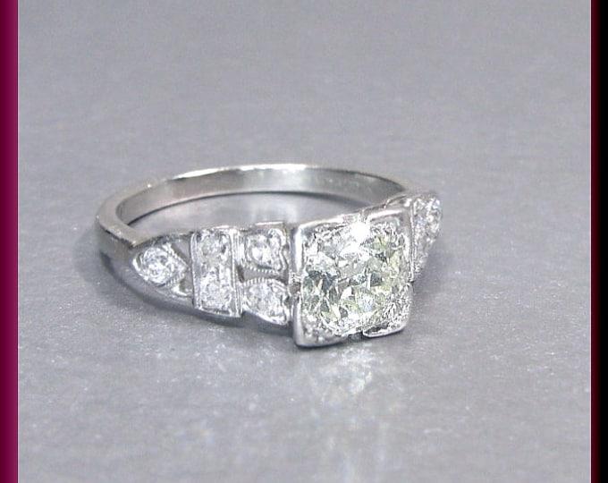 Vintage Diamond Engagement Ring Art Deco Diamond Engagement Ring with Old European Cut Diamond Platinum Wedding Ring