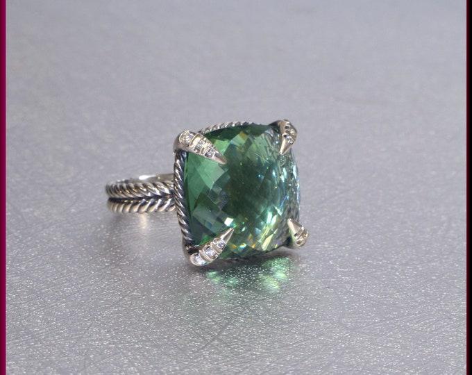 David Yurman Green Orchid Ring, David Yurman Chatelaine Ring, Sterling Silver Ring David Yurman Ring, Yurman Ring Size 7.5