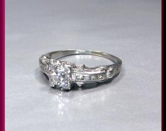 Vintage Diamond Engagement Ring Art Deco Diamond Engagement Ring with Old European Cut Diamond 18K White Gold Wedding Ring - ER 616M