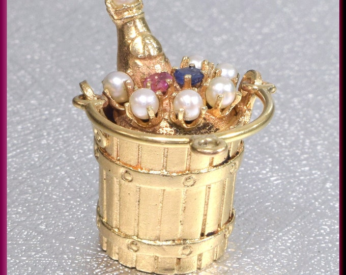 Gold Champagne Bottle Charm, Gold Champagne Bucket Charm