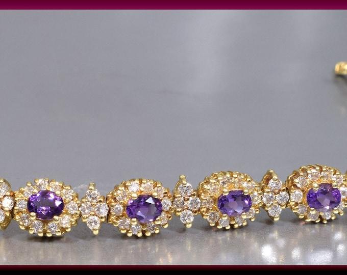 Vintage 1950's 14K Yellow Gold Amethyst and Diamond Bracelet - BR 203S