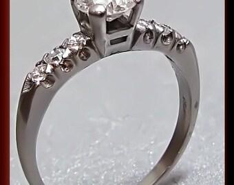 Vintage Diamond Engagement Ring Antique Diamond Engagement Ring with Old European Cut Diamond 1950's Platinum Wedding Ring - ER 290M