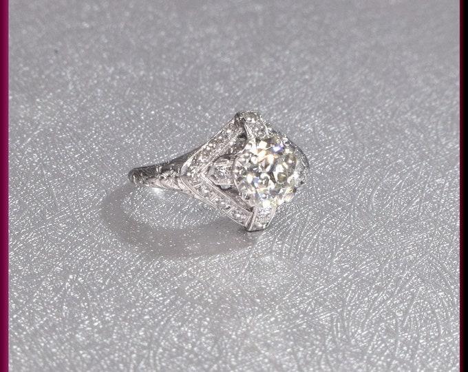 Art Deco Engagement Ring Antique Engagement Ring Art Deco Ring Vintage Ring Statement Ring Alternative Ring  Filigree Ring Platinum Dainty