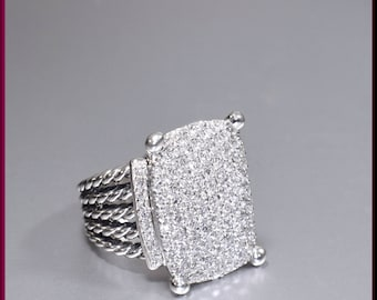 David Yurman Diamond Cocktail Ring Wheaton Collection Sterling Silver and Diamond Cocktail Ring Statement Ring