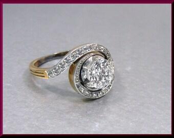 Antique Diamond Engagement Ring Edwardian Engagement Ring with Old European Cut Diamond Platinum and 14K Yellow Gold Wedding Ring  - ER 526S