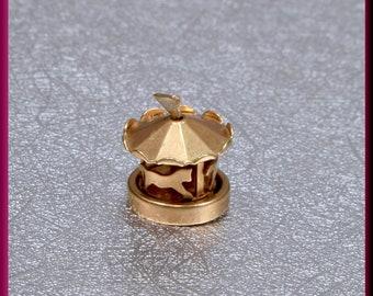 14K Yellow Gold Carousel Charm