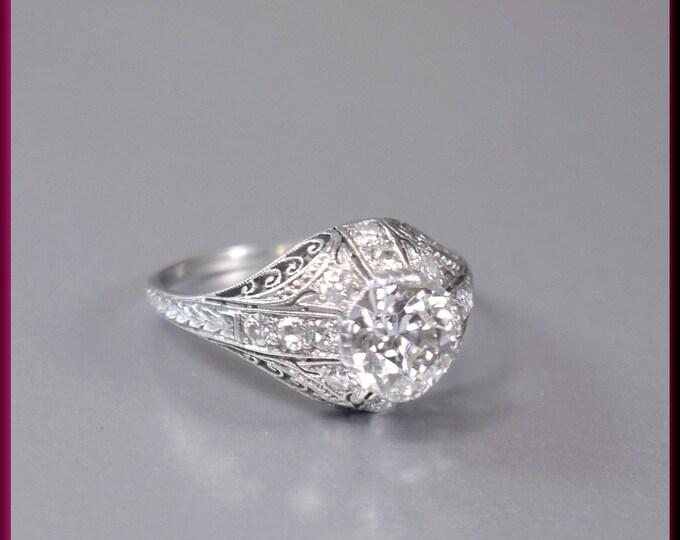 Antique Engagement Ring, Art Deco Engagement Ring, Filigree Ring ,Art Deco Ring, Alternative Ring Statement Ring Platinum Ring