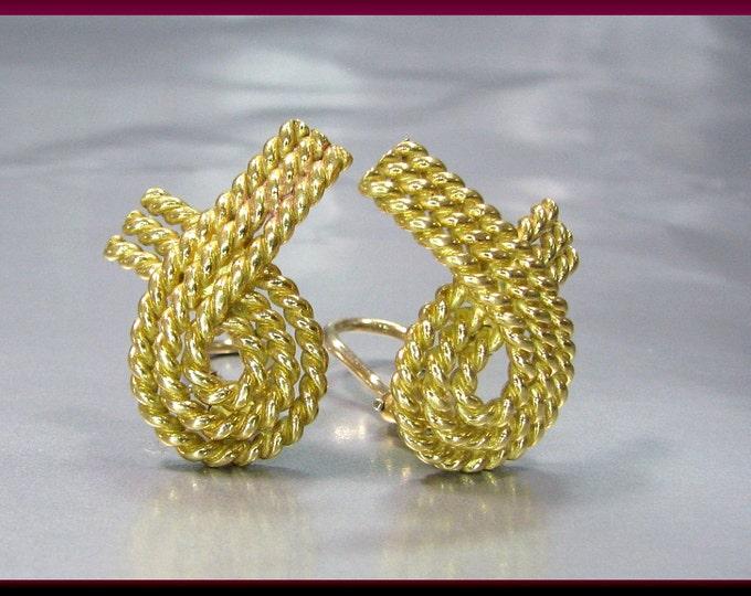 Vintage Tiffany and Company Elsa Peretti 18K Yellow Gold Ribbon Earrings