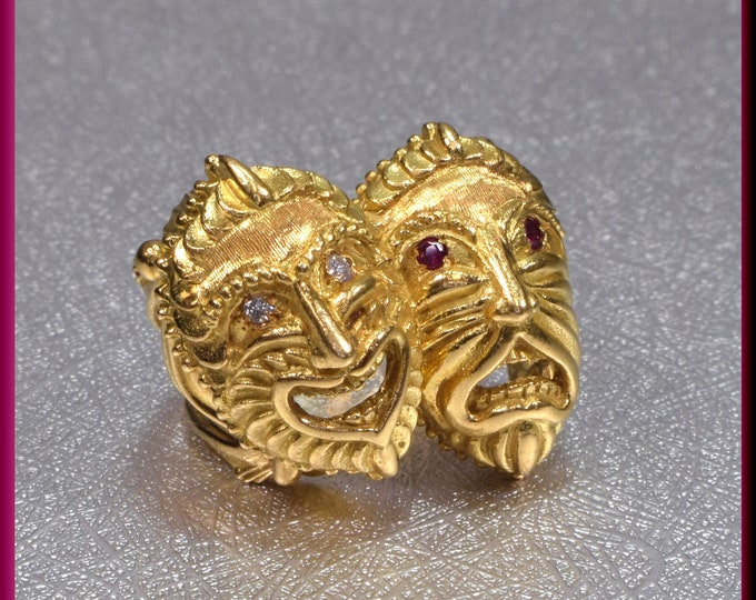 Gold Comedy Tragedy Mask Ring, Gold Theatre Ring, Comedy Tragedy mask Ring, Theatre Ring, Greek drama mask Ring