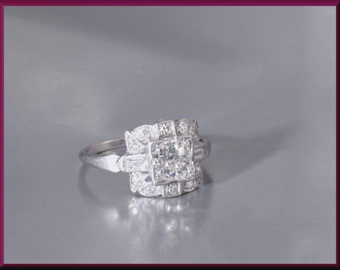 Antique Diamond Engagement Ring Art Deco Diamond Engagement Ring with Old European Cut Diamond Platinum Wedding Ring - ER 510M