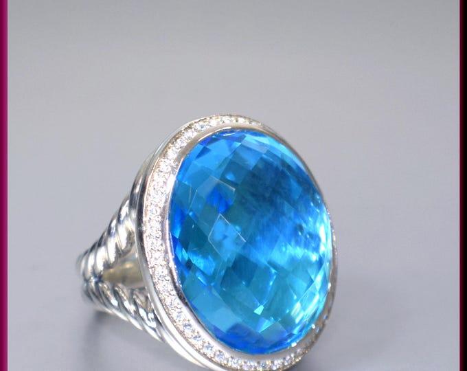 David Yurman Blue Topaz Ring, Yurman Signature Collection, David Yurman Ring Size 7, David Yurman Diamond Ring