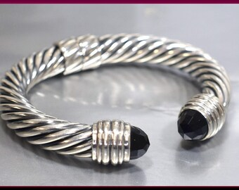 Vintage David Yurman Cable Collection Sterling Silver and Onyx  Bangle Bracelet - DY 60